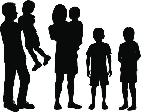 Children Silhouettes Clip Art, Vector Images ...