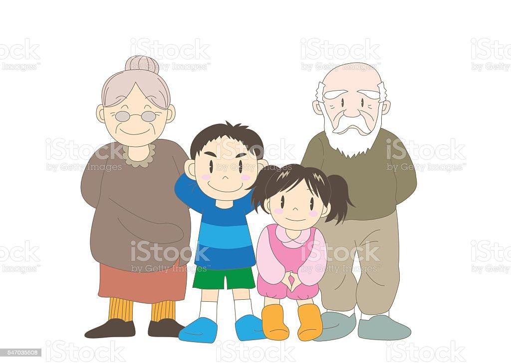 Family (Grandparent and children) vector art illustration