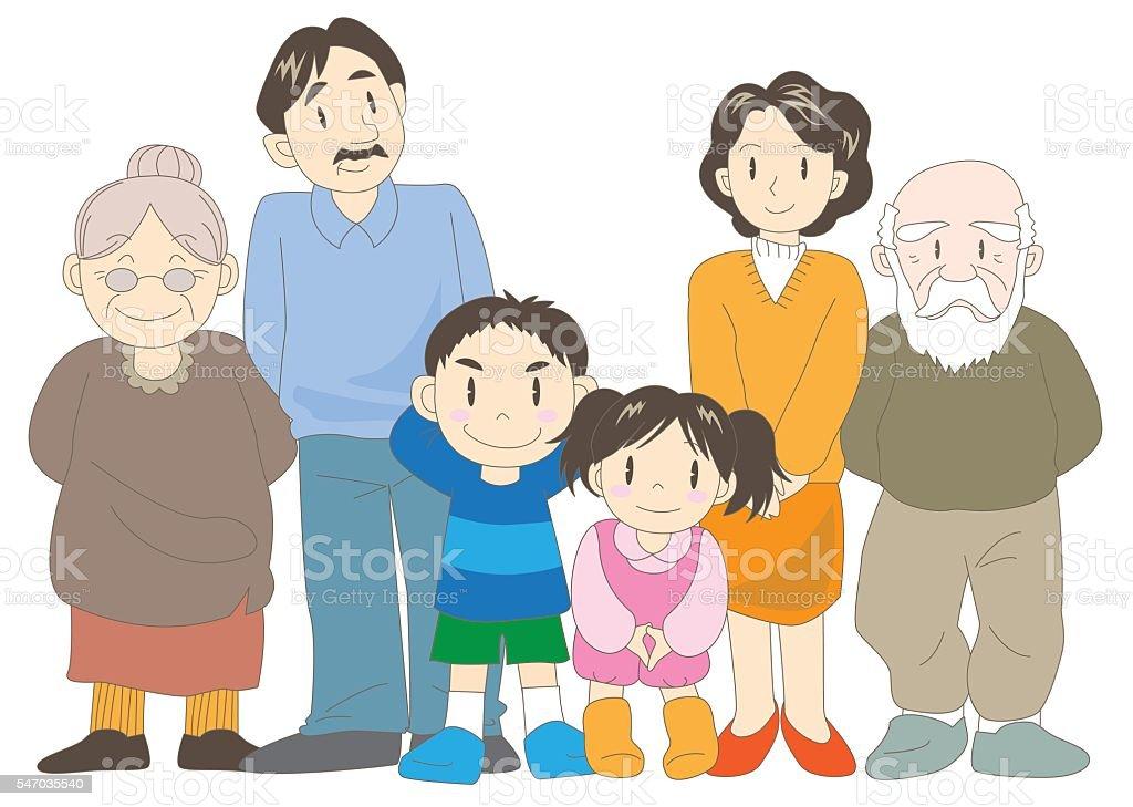 Family (parents, children and grandparent) vector art illustration