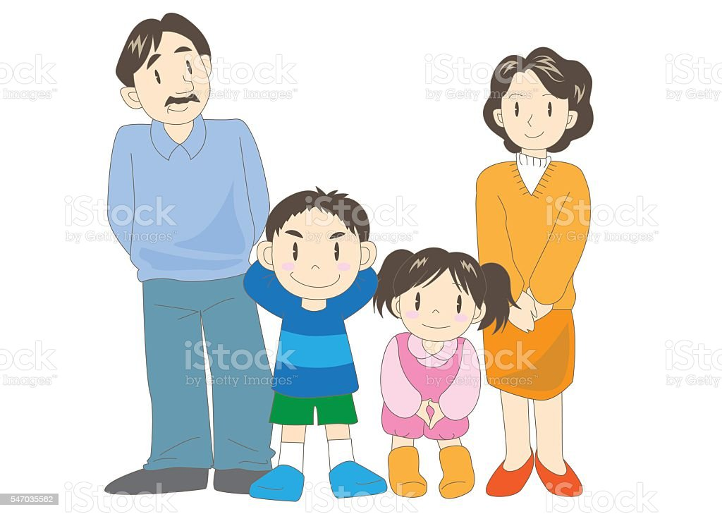 Family (parents and children) vector art illustration