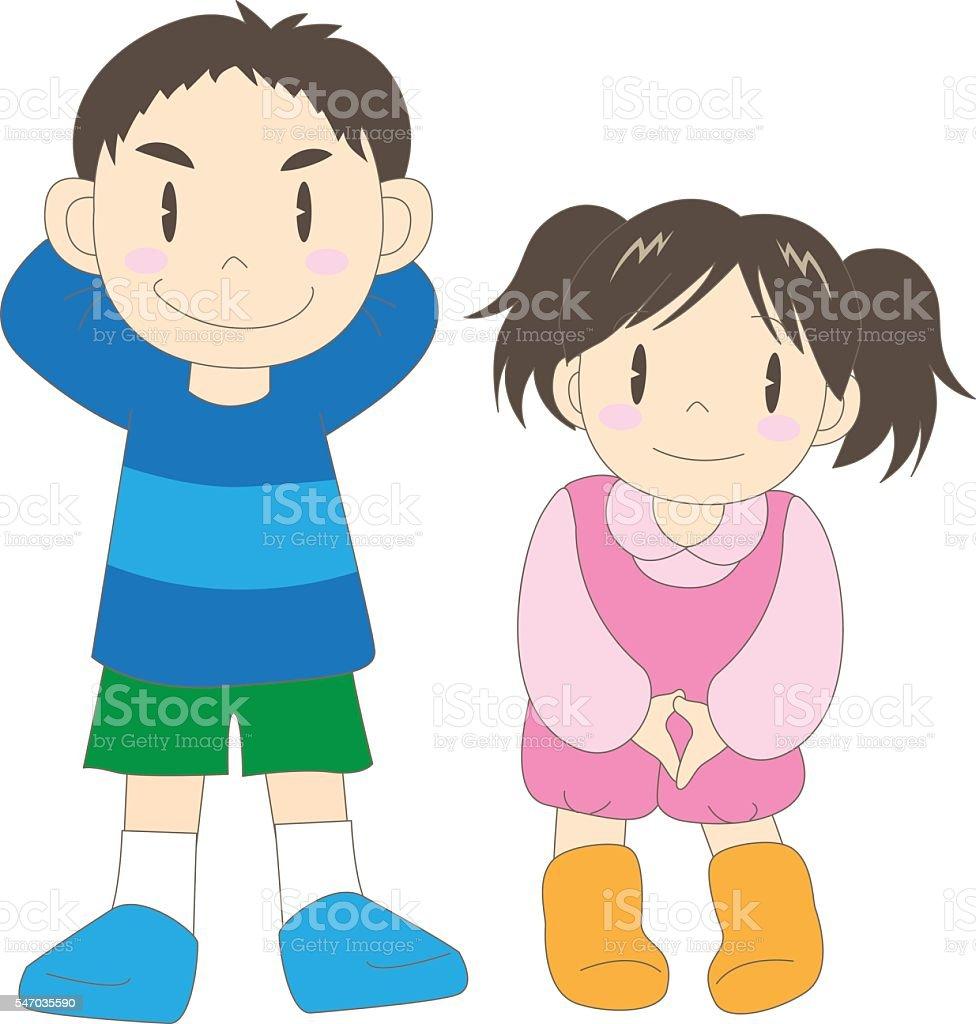 Family (children) vector art illustration