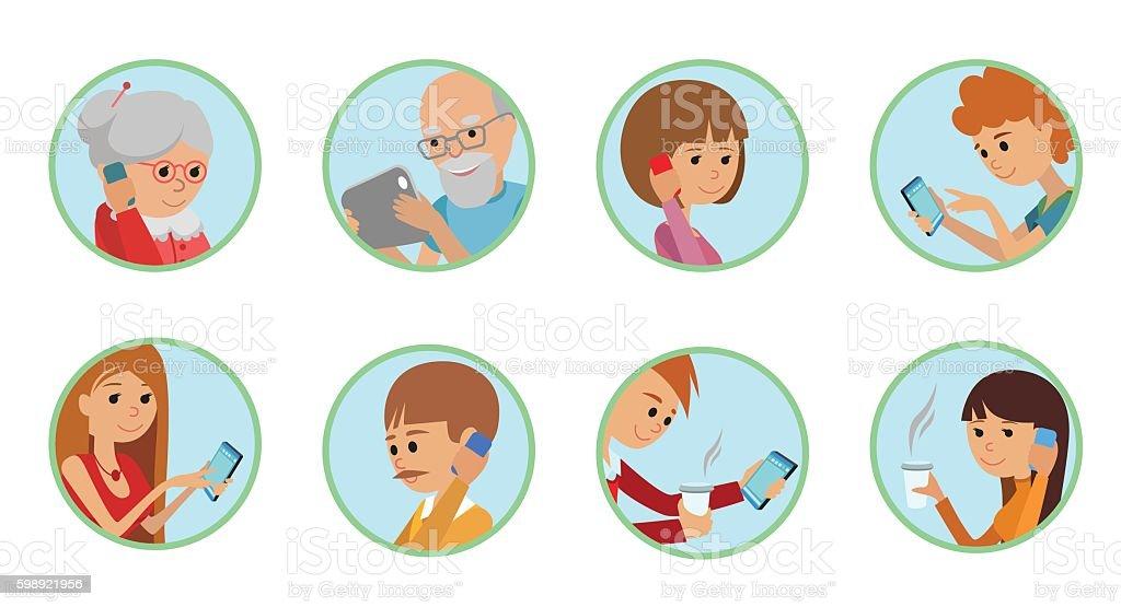 Family vector illustration people faces online social media communications. vector art illustration