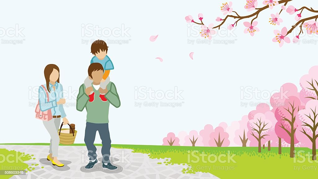 Family Walking among full bloom cherry trees -Piggyback -EPS10 vector art illustration