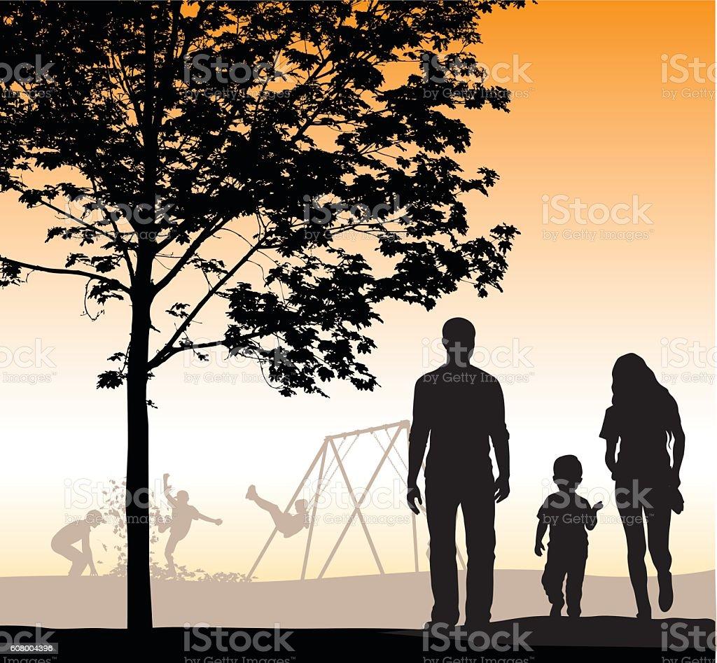 Family Walking At Dusk Vector Silhouette vector art illustration