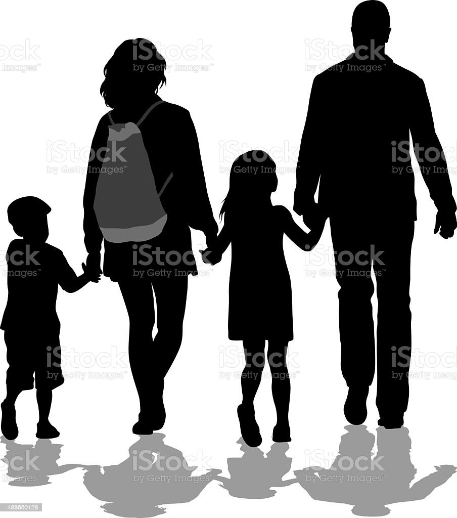 Family Walking Hand In Hand vector art illustration
