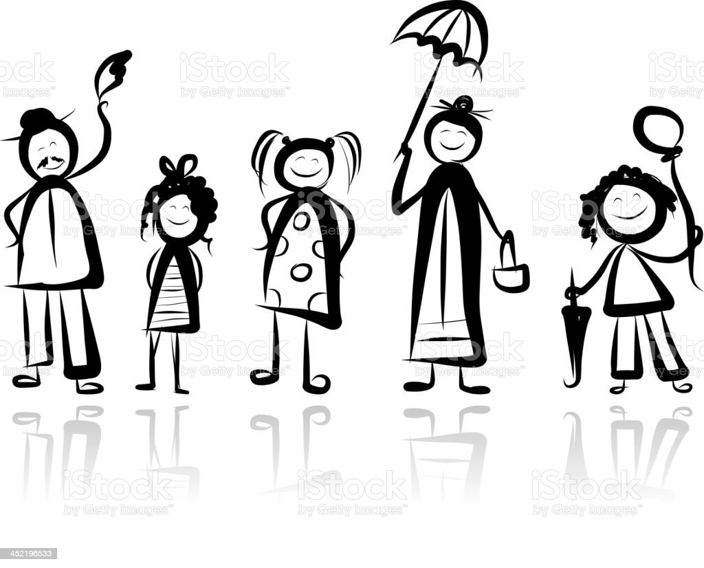 Family walking, sketch for your design royalty-free stock vector art