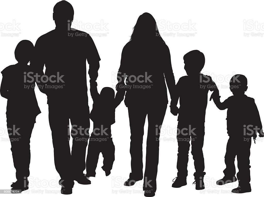 Family walking together vector art illustration