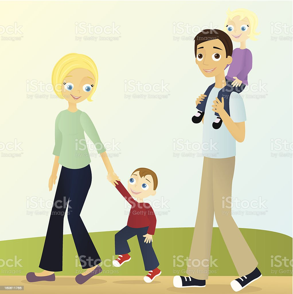 Family Walking vector art illustration
