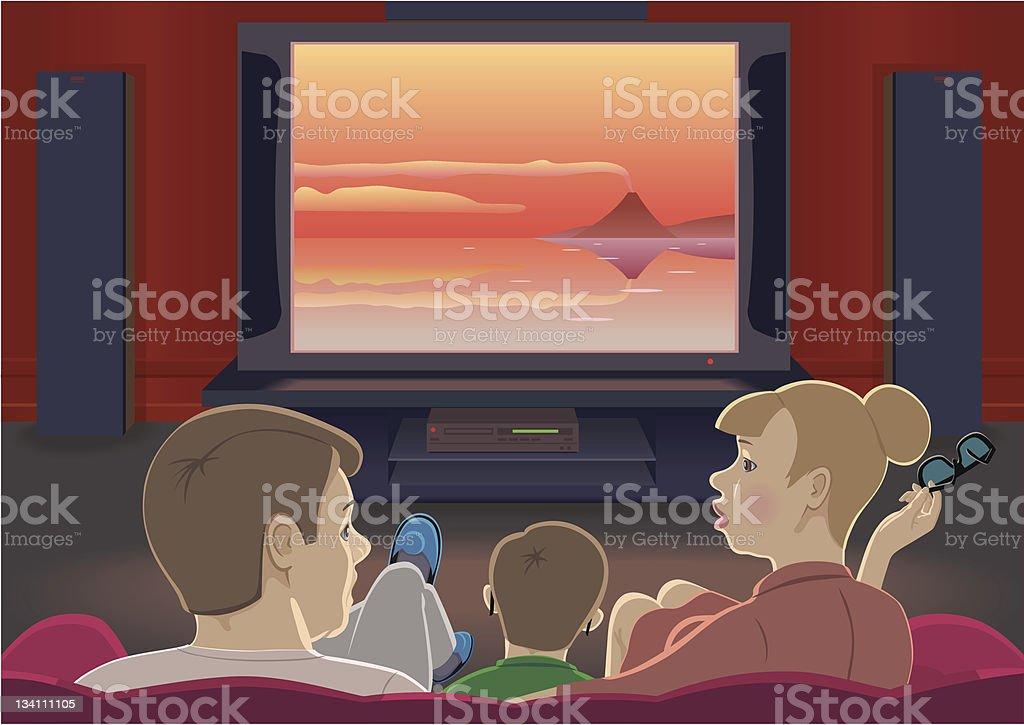 Family watch TV vector art illustration