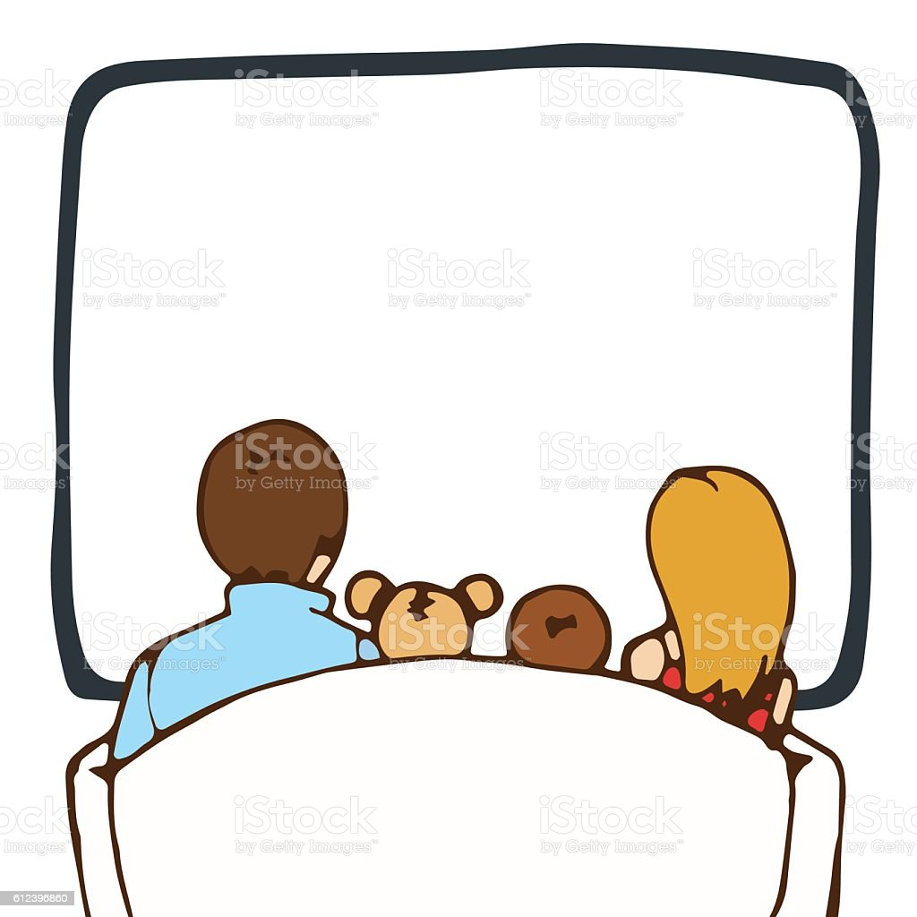 Family watching television. View from back. vector art illustration