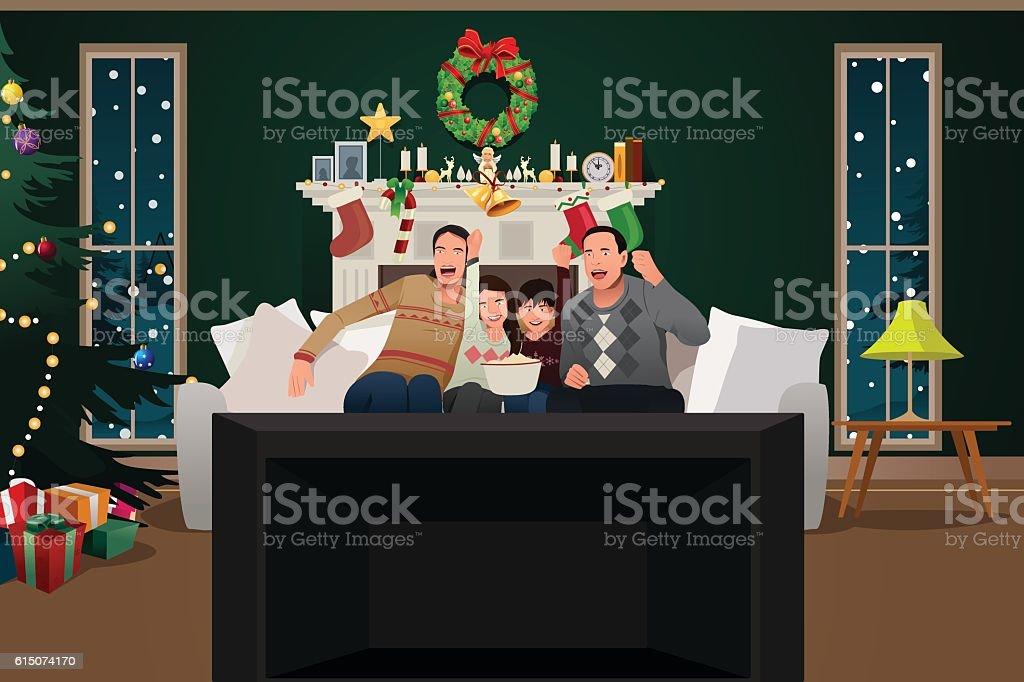 Family Watching TV During Christmas Season vector art illustration