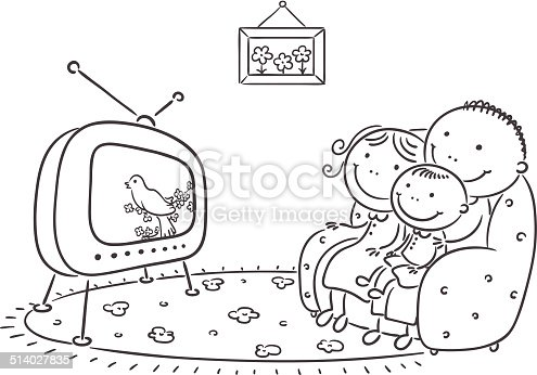 Family Watching Tv Together stock vector art 514027835