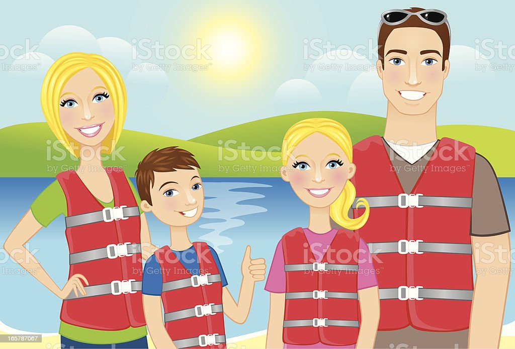 Family wearing lifejackets royalty-free stock vector art