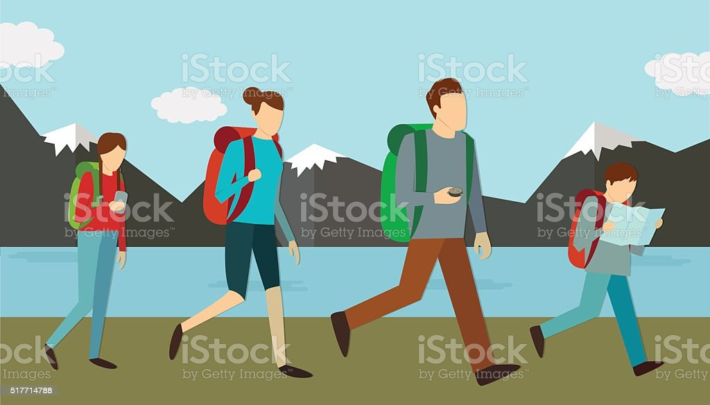 Family weekend outdoors. Vector royalty-free stock vector art
