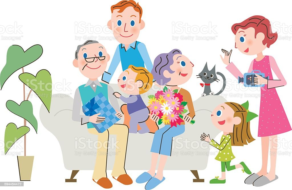 family who celebrates Respect for the Aged Day vector art illustration
