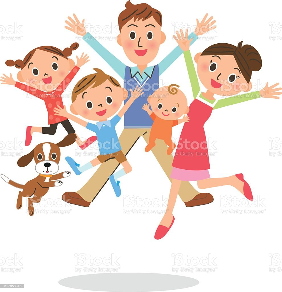 family who jumps vector art illustration