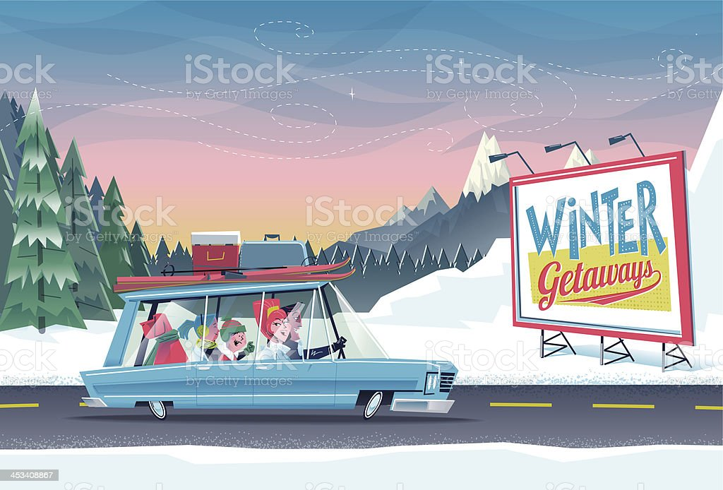 Family Winter Getaways vector art illustration
