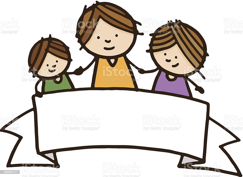 Family with banner royalty-free stock vector art