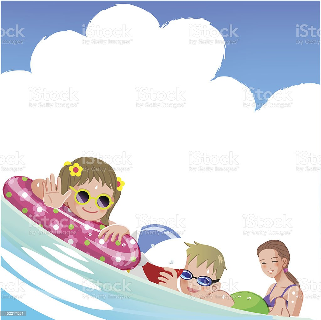 Family with children at sea on summer holiday royalty-free stock vector art