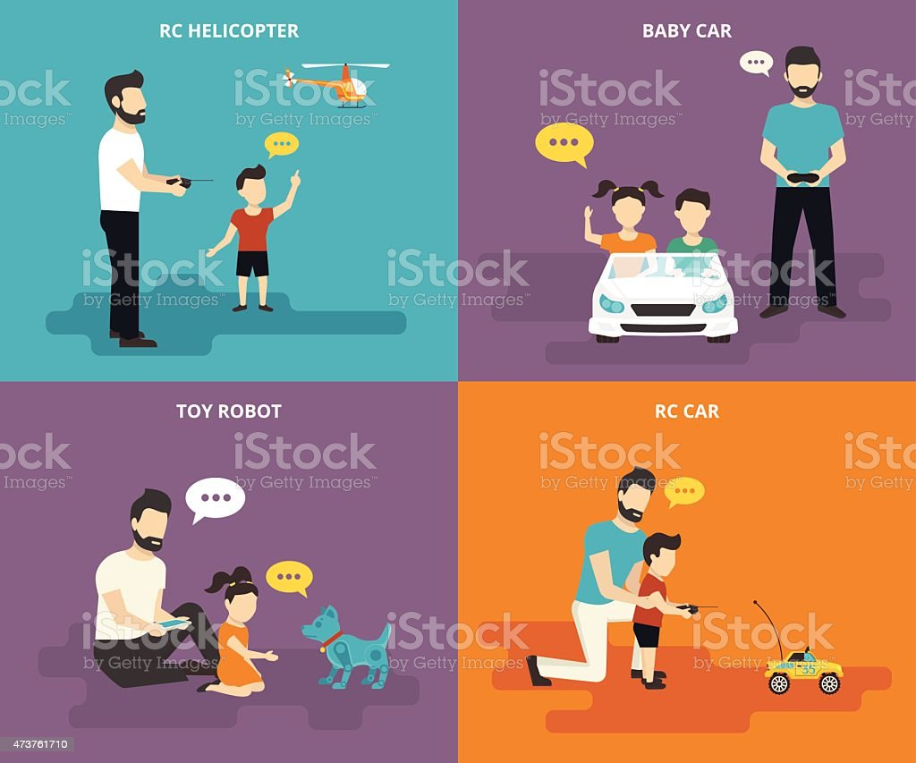 Family with children concept with flat icon set vector art illustration