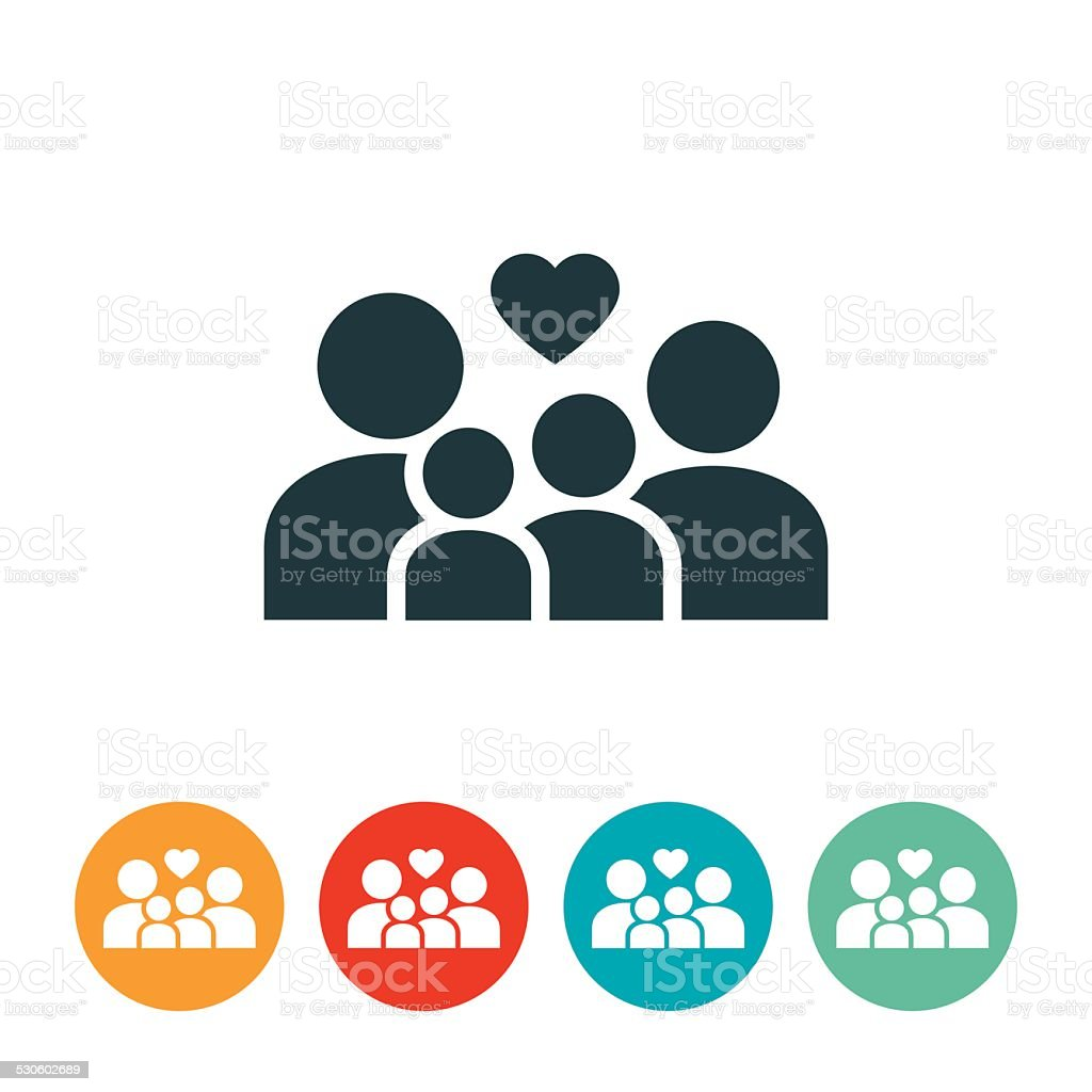 Family With Children Icon vector art illustration