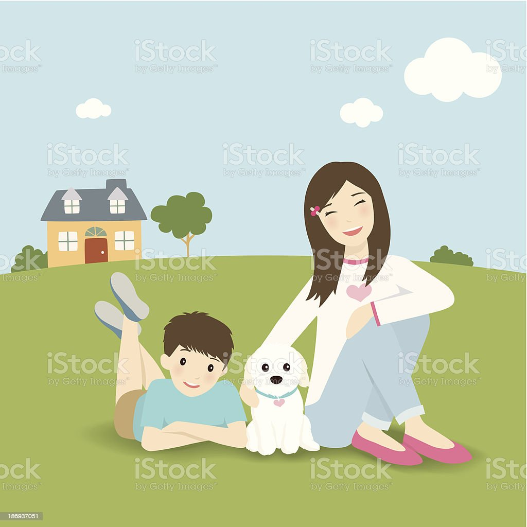 Family with dog vector art illustration