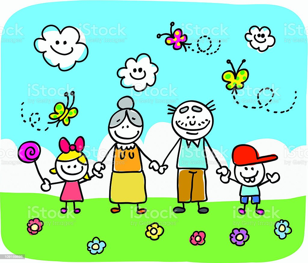 family with grandparents and children doodle cartoon in nature royalty-free stock vector art