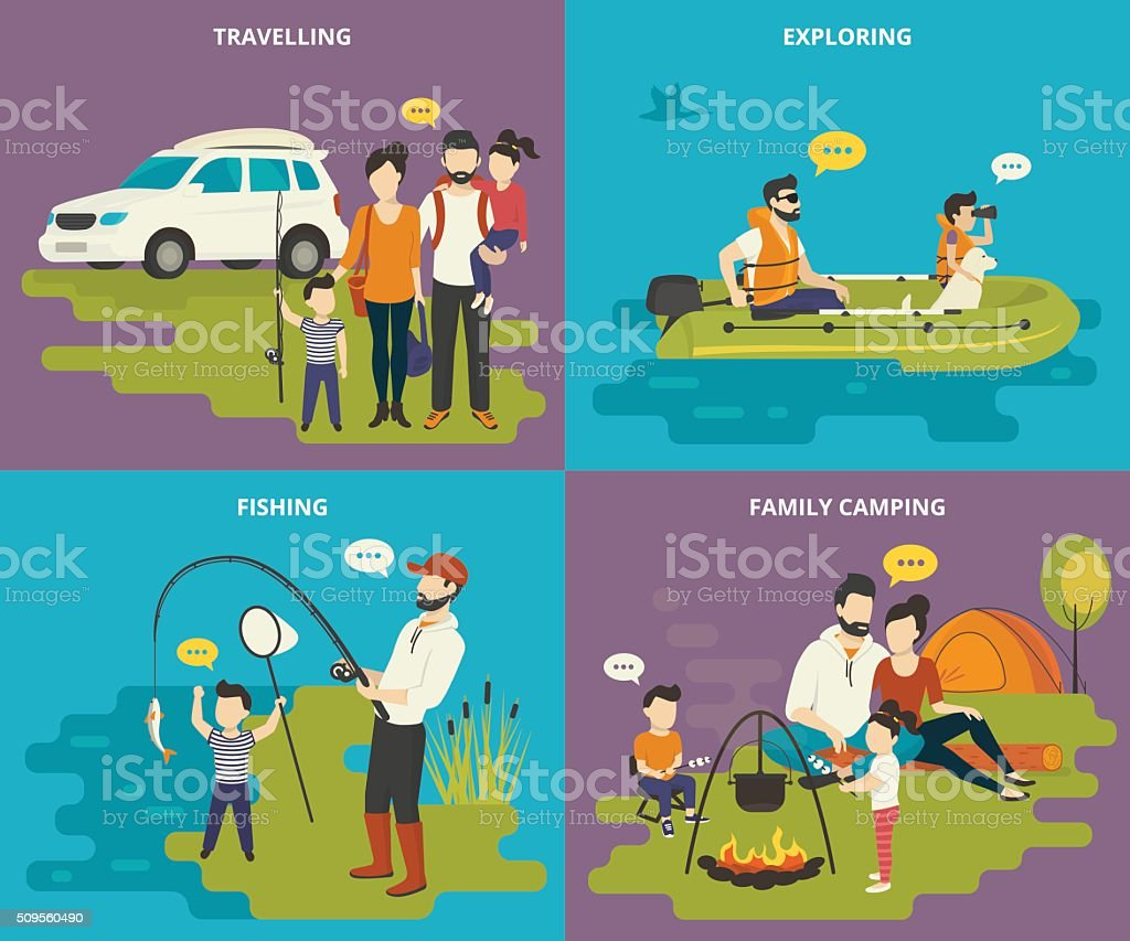 Family with kids concept flat icons set of travelling, fishing vector art illustration