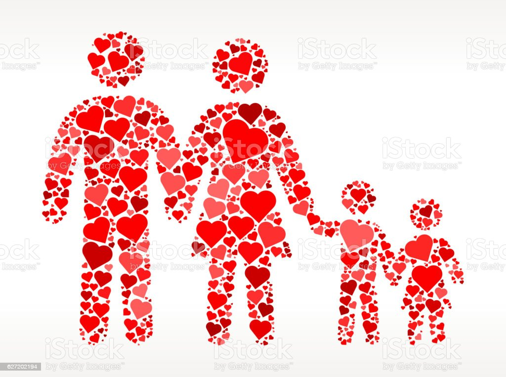 Family with Kids Red Hearts Love Pattern vector art illustration