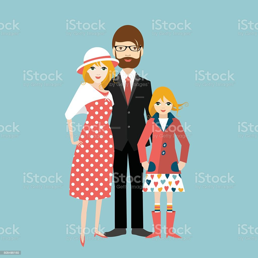 Family with little daughter. Man and woman in love, relationship vector art illustration