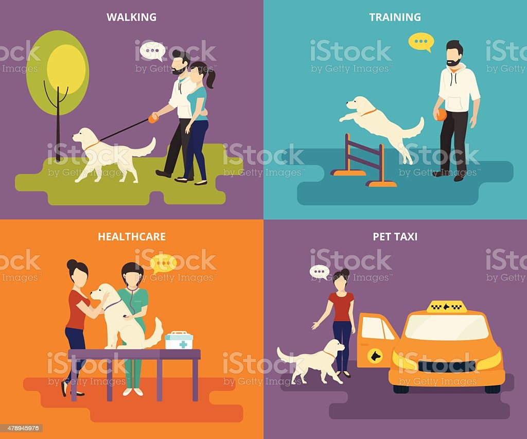 Family with pet concept flat icons set vector art illustration