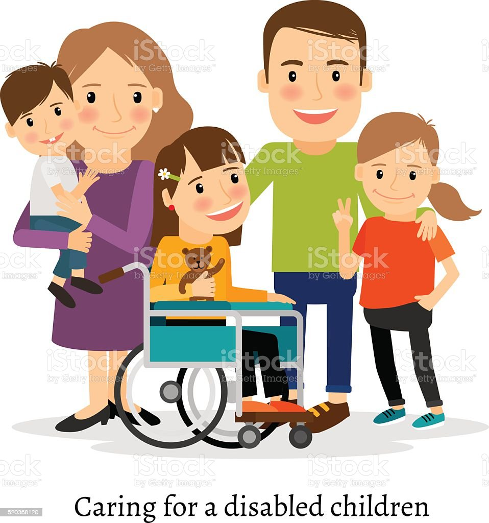 Family with special needs children vector art illustration