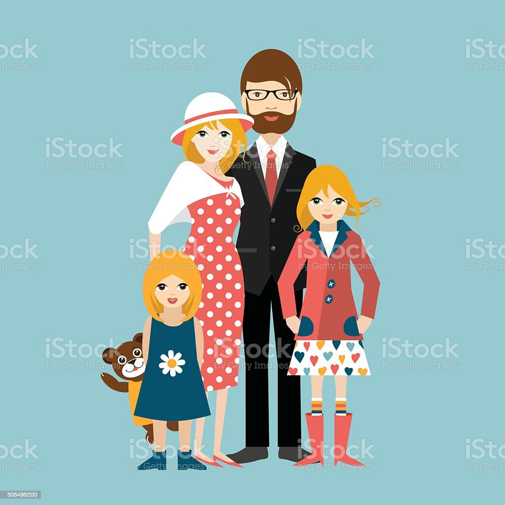 Family with two little daughter. Man and woman in love vector art illustration
