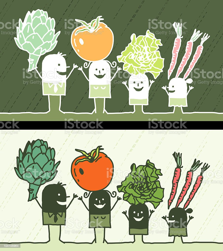 family with vegetables royalty-free stock vector art
