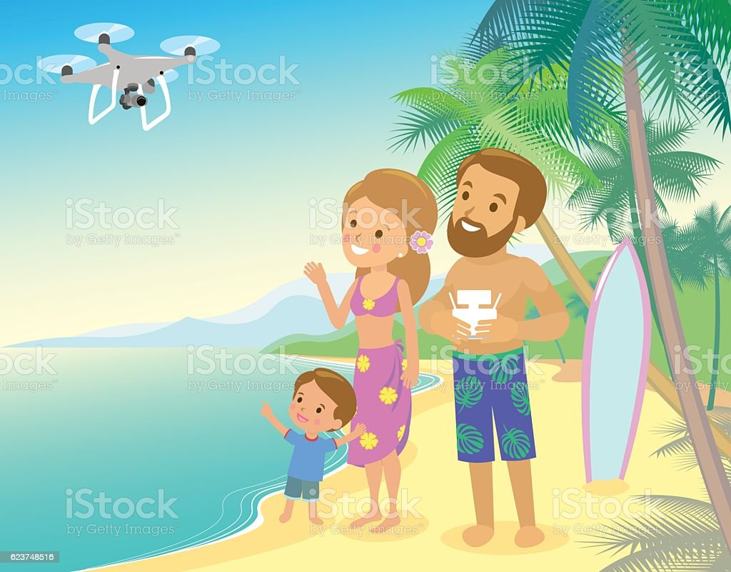 Family woman man child son on seashore with  drone quadrocopter vector art illustration