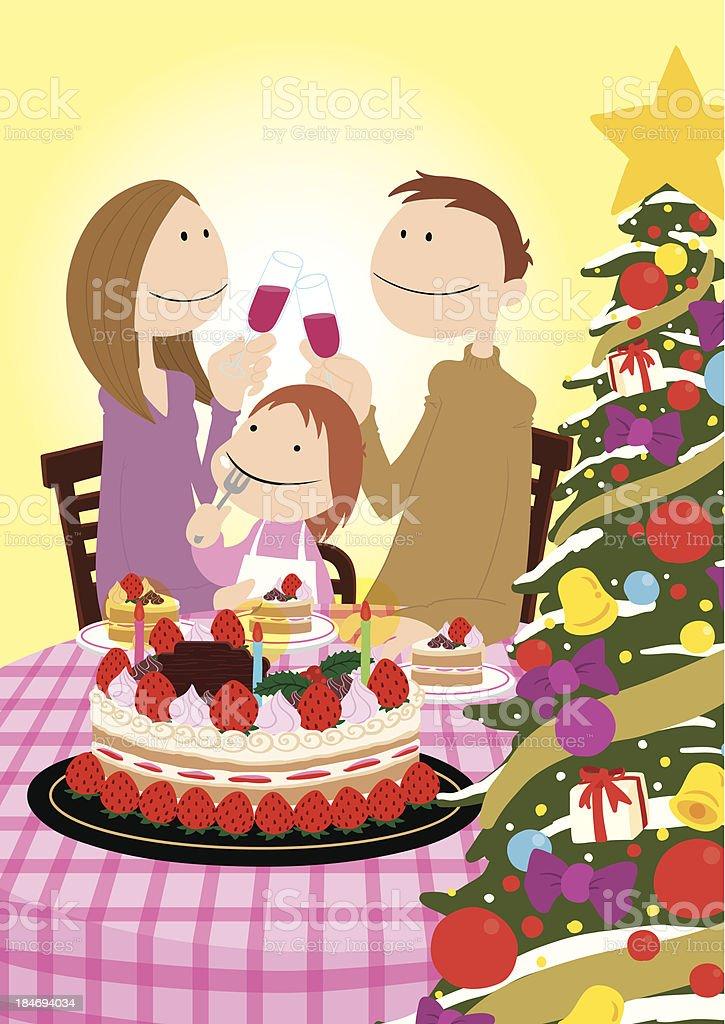 family_ChristmasCake royalty-free stock vector art