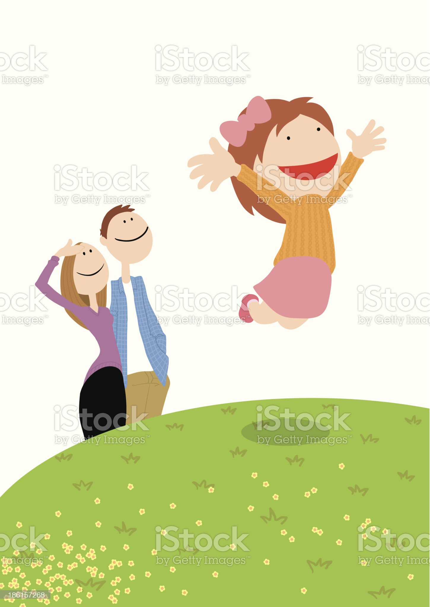 Family_jump royalty-free stock vector art