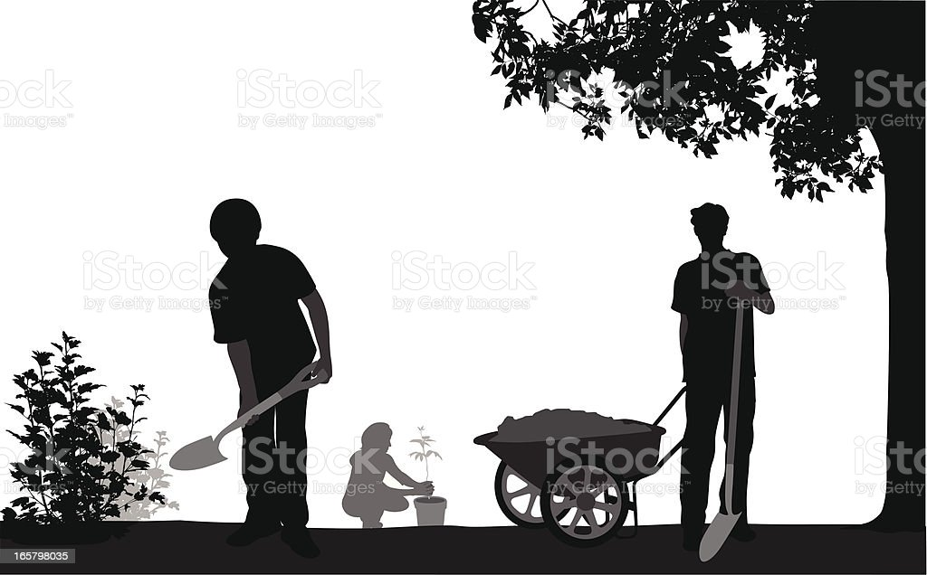 Family'n Gardening Vector Silhouette royalty-free stock vector art