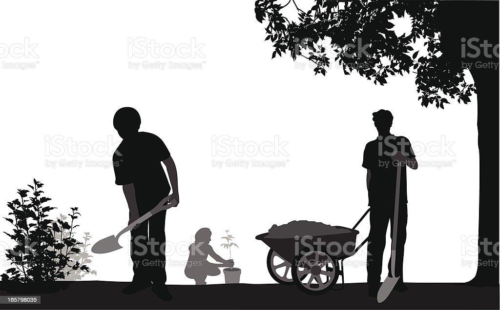 Family'n Gardening Vector Silhouette vector art illustration
