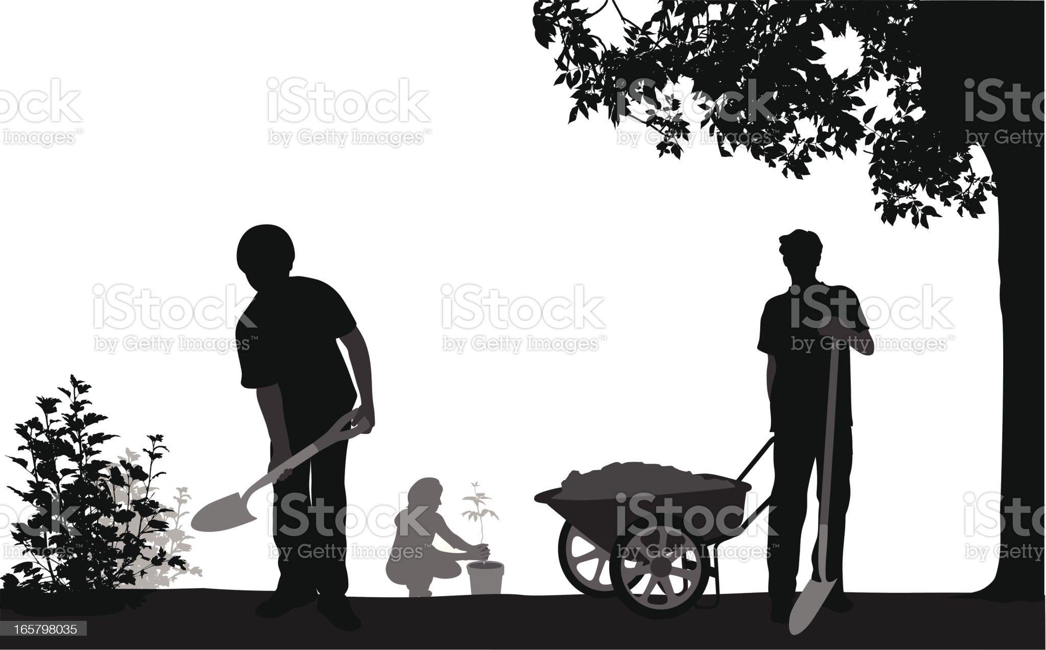Family'n Gardening Vector Silhouette royalty-free stock vector art