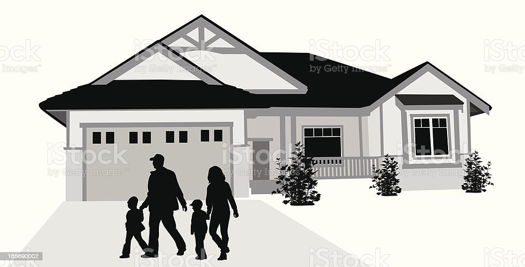 Family'n House Vector Silhouette royalty-free stock vector art