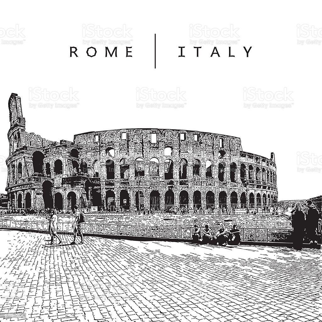 Famous amphitheater Coliseum in Rome, Italy. vector art illustration