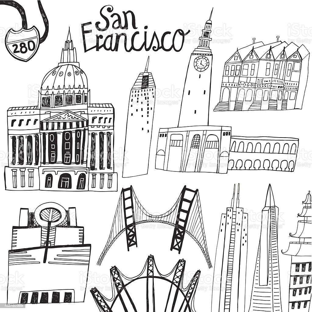 Famous buildings and bridges in San Francisco, California in USA vector art illustration