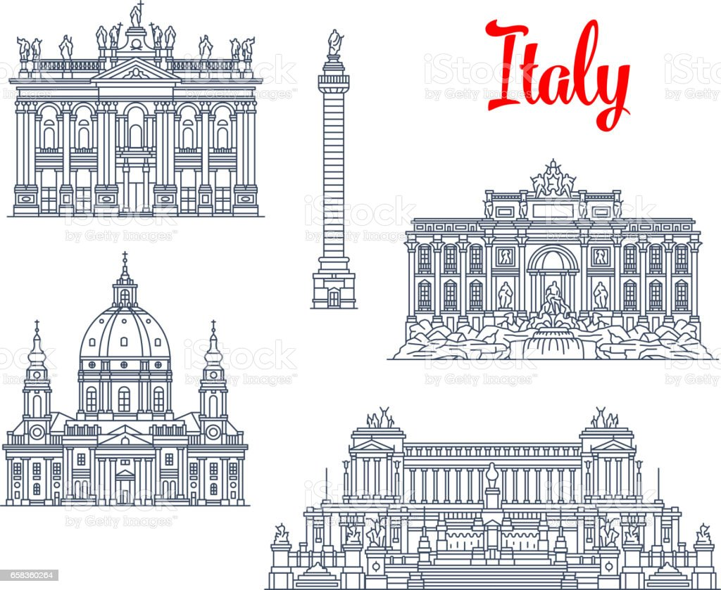 Famous buildings Italy architecture vector icons vector art illustration