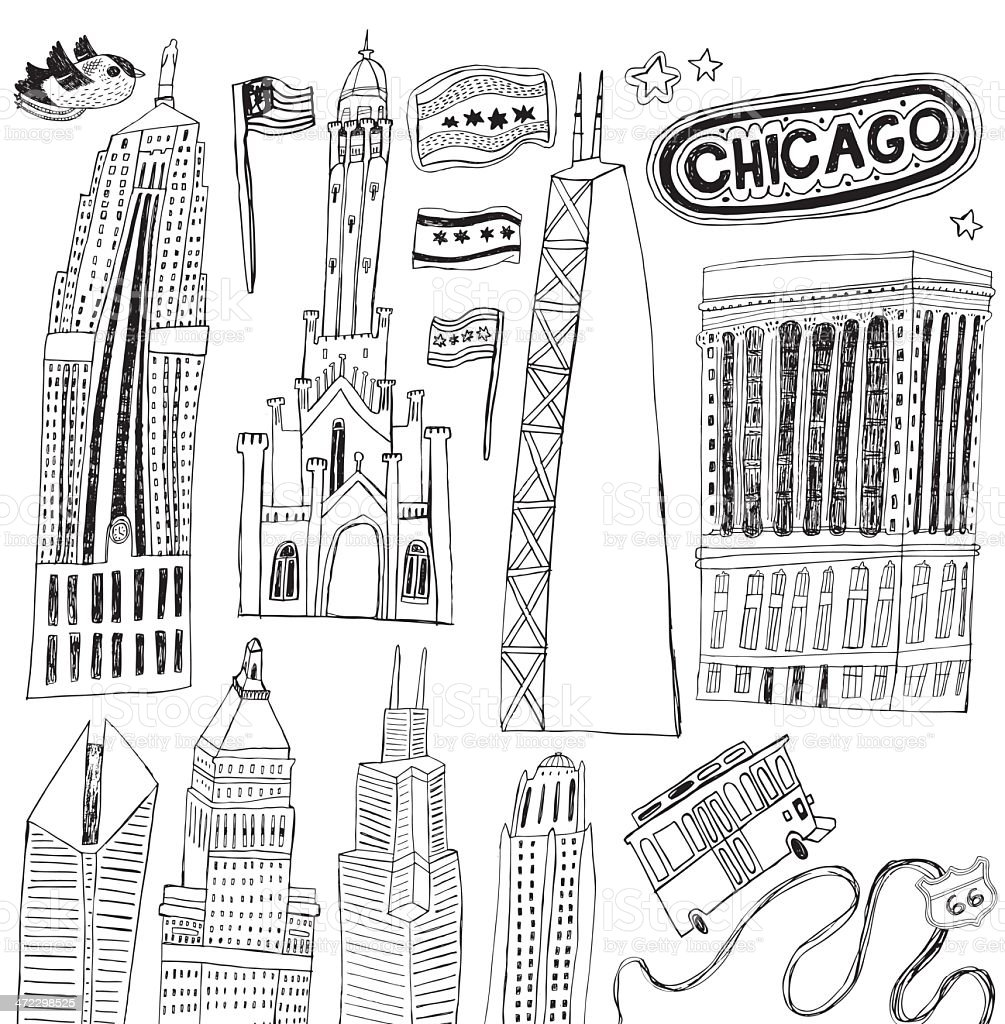 Famous buildings of Chicago, Illinois, USA vector art illustration