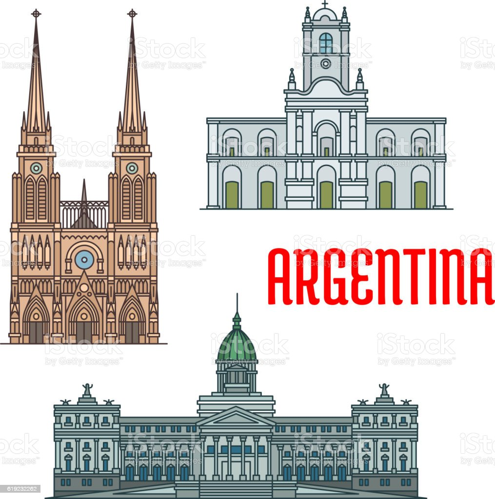 Famous churches and palaces of Argentina vector art illustration