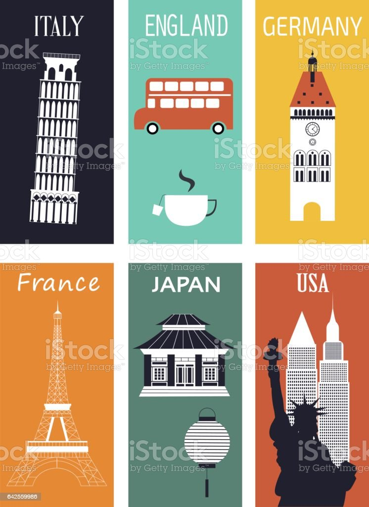 Famous countries. vector art illustration