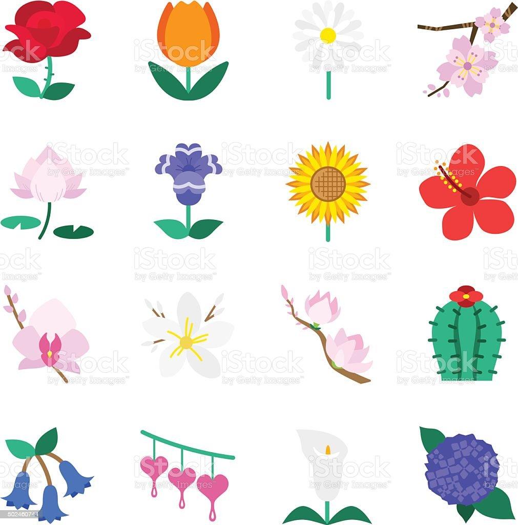 Famous Flower icons Set 1 vector art illustration
