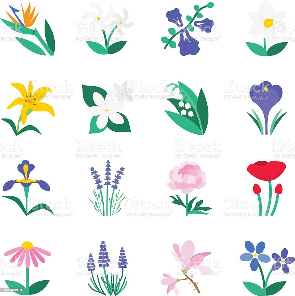 Famous Flower icons Set 2 vector art illustration