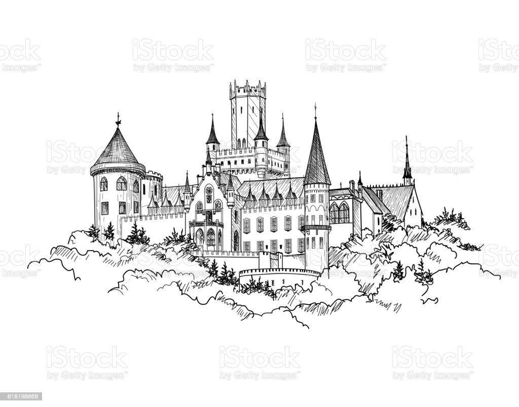 Famous German Castle Landscape. Travel Germany Background. Tower Building skyline. vector art illustration
